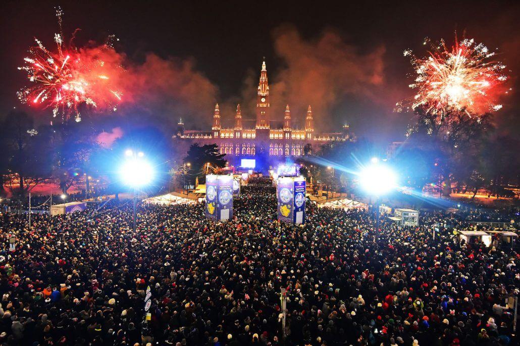 vienna's Rathausplatz during New year's celebrations.